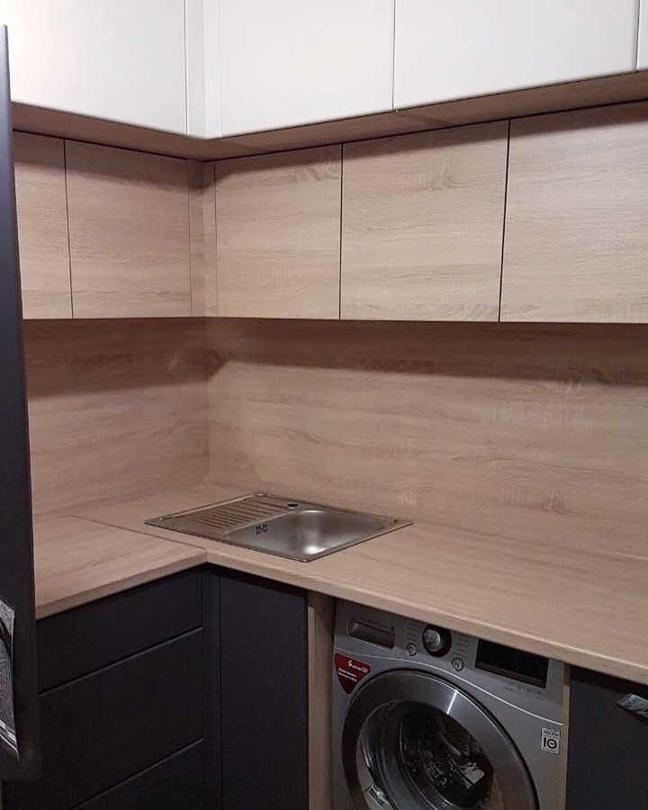 Встроенная кухня-Кухня МДФ в ПВХ «Модель 61»-фото1
