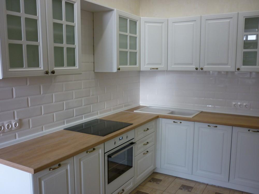 Белый кухонный гарнитур-Кухня МДФ в ПВХ «Модель 307»-фото1