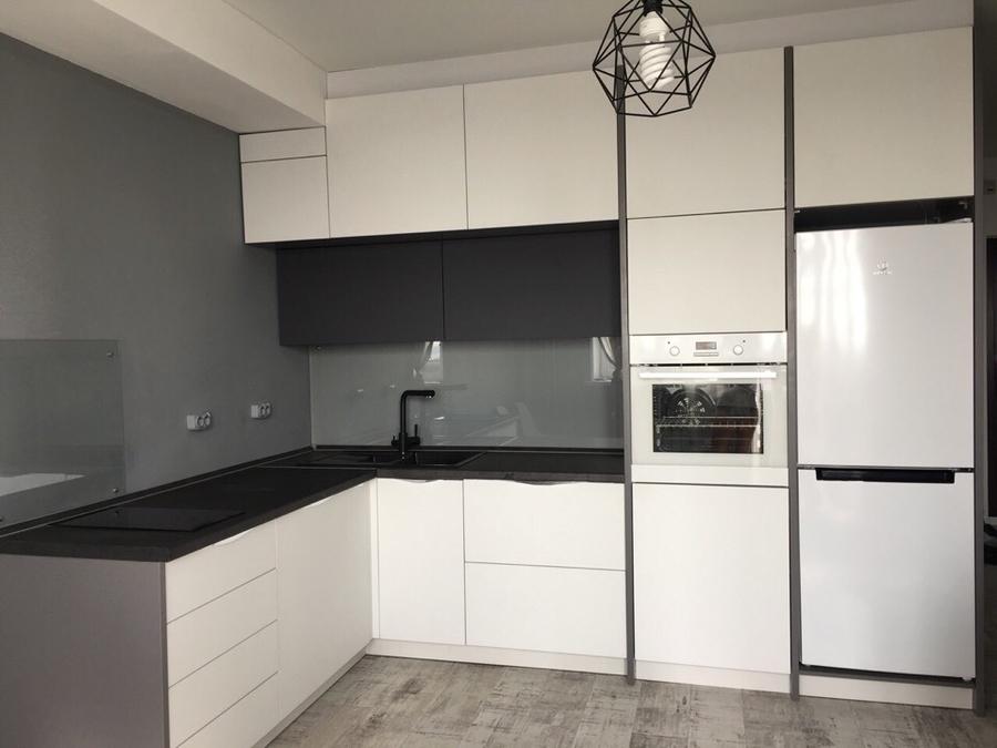 Белый кухонный гарнитур-Кухня из пластика «Модель 364»-фото1
