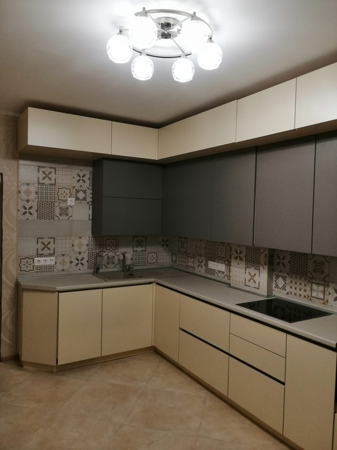 Белый кухонный гарнитур-Кухня из пластика «Модель 339»-фото1