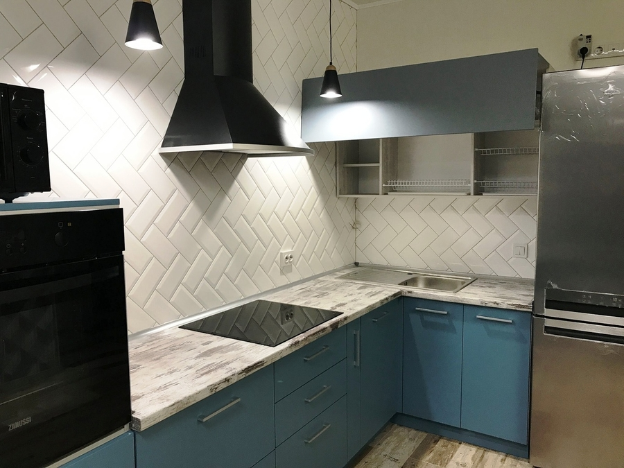 Купить голубую кухню-Кухня из пластика «Модель 373»-фото3