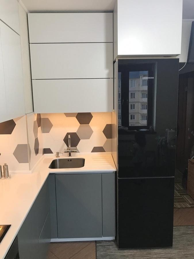 Белый кухонный гарнитур-Кухня МДФ в эмали «Модель 445»-фото5