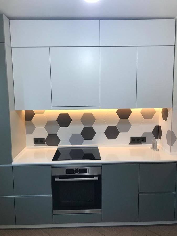 Белый кухонный гарнитур-Кухня МДФ в эмали «Модель 445»-фото3