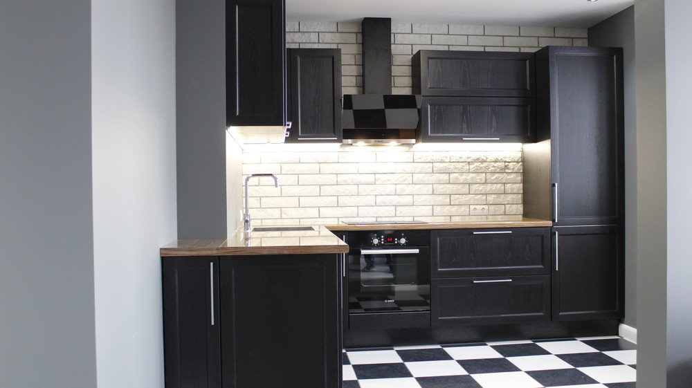 Встроенная кухня-Кухня МДФ в ПВХ «Модель 153»-фото1